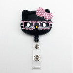 Black Face Pink Bow -- Blinged Out Nerd Kitty Hello Kitty Alligator Swivel Clip Retractable ID Badge Holder /  Name Badges / ID Badge Reel ( 100% Handcrafted ) ----  lovekitty