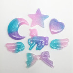 LOVEKITTY -- 7 pcs Set Cute Resin Flat Back Kawaii Cabochons Deco Pieces Blue