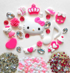 DIY 3D Hello Kitty Bling Resin Flat back Kawaii Cabochons Deco Kit Z267 -- lovekittybling