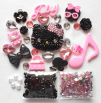 DIY 3D Blinged out Hello Kitty Kawaii Cabochons Deco Kit / Set Z262 -- love kitty bling