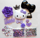 DIY 3D Hello Kitty Bling Resin Flat back Kawaii Cabochons Deco Kit Z248 -- lovekittybling