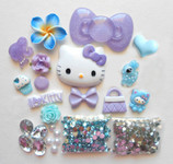 DIY 3D Hello Kitty Bling Resin Flat back Kawaii Cabochons Deco Kit Z242 -- lovekittybling