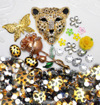 DIY 3D Golden Leopard Flat back Kawaii Cabochons Deco Kit / Set Z296
