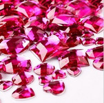 30 pcs Fuchsia FlatBack Mixed Sizes Gems-- lovekittybling