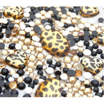 10 animal print gems and 1000 pcs 3mm 5mm mixed Gold and Black Rhinestones -- lovekittybling