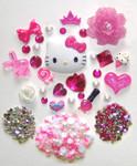 DIY 3D Hello Kitty Bling Resin Flat back Kawaii Cabochons Deco Kit Z21 --- lovekitty