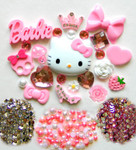 DIY 3D Hello Kitty Bling Resin Flat back Kawaii Cabochons Deco Kit Z183--- lovekitty
