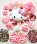 DIY 3D Hello Kitty Bling Resin Flat back Kawaii Cabochons Deco Kit Z201--- lovekitty