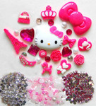 DIY 3D Hello Kitty Bling Resin Flat back Kawaii Cabochons Deco Kit Z224 --- www.lovekittybling.com