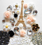 DIY 3D Eiffel Tower Bling Bling Resin Flat back Kawaii Cabochons Deco Kit Z219 --- www.lovekittybling.com
