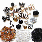 DIY 3D Zebra  Bling Bling Flatback Resin Cabochons Kawaii Deco Kit / Set Z231 --- by lovekitty