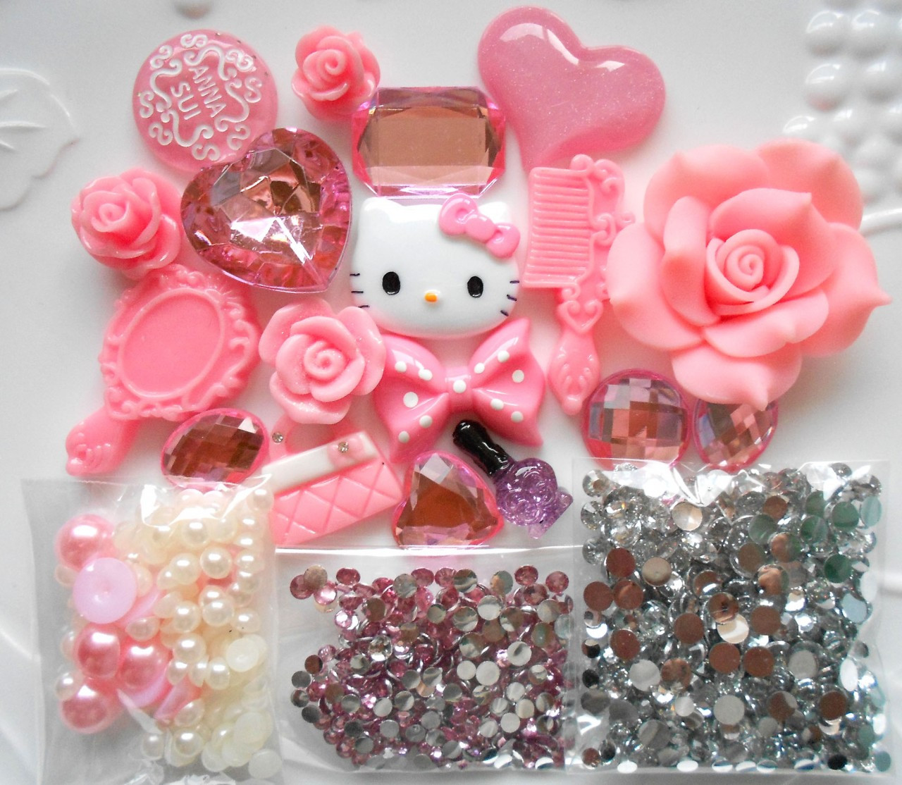 Natuba - Kawaii Cabochons 100 Set 22 Hearts Cookies Bows