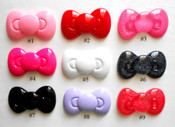 #6 Glitter Black ---- 1 piece Large Hello Kitty Bow Japanese Kawaii Flat Back Resin Cabochons  -- by lovekitty