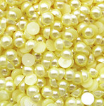 Light Yellow --- 12mm --- 30 pieces flat back pearl cabochons --- lovekitty
