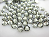 Dark Silver --- 6mm 50pcs --- Rhinestones Round Flat back 14-facet ( High Quality ) --- lovekitty