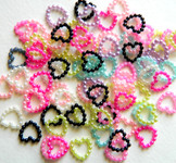 30 Pcs Mixed Colors Heart Shape Flatback Pearl Cabochon -- by lovekitty
