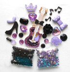 DIY 3D Rhinestones Purple Guitar Bling Bling Flat back Kawaii Cabochons Deco Kit / Set Z313 -- lovekittybling