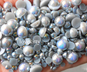 600 pieces AB Gray Mixed Sizes Flatback Pearl Cabochons -- by lovekitty