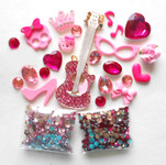 DIY 3D Rhinestones Pink Guitar Bling Bling Flat back Kawaii Cabochons Deco Kit / Set Z315 -- lovekittybling