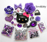 DIY 3D Hello Kitty Bling Resin Flat back Kawaii Cabochons Deco Kit Z345  ( not a finished product )--- lovekitty