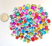 100 pcs ---  Sew-On Gems --- Mixed Colors & Shapes Flat Back Gems ( small sizes 5mm -- 15mm  has thread holes ) ---- lovekittybling