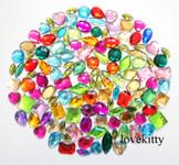 100 pcs ---  Sew-On Gems --- Mixed Colors & Shapes Flat Back Gems ( medium sizes 13mm -- 20mm  has thread holes ) ---- lovekittybling