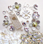 DIY 3D Rhinestones Silver Purfume Buttle Bling Bling Flat back Kawaii Cabochons Deco Kit / Set Z348 -- lovekitty