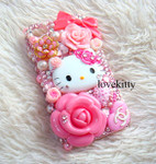 DIY 3D Hello Kitty Bling Resin Flat back Kawaii Cabochons Deco Kit Z334  ( not a finished product )--- lovekitty