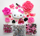 DIY 3D Hello Kitty Bling Resin Flat back Kawaii Cabochons Deco Kit Z339  ( not a finished product )--- lovekitty