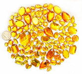 100 pcs ---  Sew-On Gems --- Gold  Mixed Shapes Flat Back Gems ( Mixed Sizes has thread holes ) ---- love kitty bling
