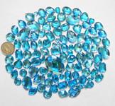 100 pcs --- Sew-On Gems -- Lake Blue -- Mixed Shapes Flat Back Gems ( Mixed Sizes has thread holes ) ---- love kitty bling
