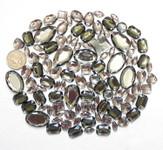 100 pcs --- Sew-On Gems -- Gray -- Mixed Shapes Flat Back Gems ( Mixed Sizes has thread holes ) ---- love kitty bling
