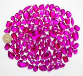 100 pcs --- Sew-On Gems -- Fuchsia -- Mixed Shapes Flat Back Gems ( Mixed Sizes has thread holes ) ---- love kitty bling