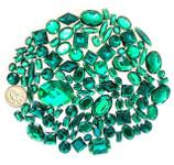 100 pcs --- Sew-On Gems -- Dark Green -- Mixed Shapes Flat Back Gems ( Mixed Sizes has thread holes ) ---- love kitty bling