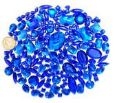 100 pcs --- Sew-On Gems -- Dark Blue -- Mixed Shapes Flat Back Gems ( Mixed Sizes has thread holes ) ---- love kitty bling