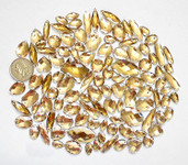 100 pcs --- Sew-On Gems -- Light Brown -- Mixed Shapes Flat Back Gems ( Mixed Sizes has thread holes ) ---- love kitty bling