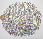 100 pcs --- Sew-On Gems -- AB Clear -- Mixed Shapes Flat Back Gems ( Mixed Sizes has thread holes ) ---- love kitty bling