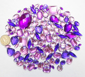 100 pcs --- Sew-On Gems -- Lavender Purple -- Mixed Shapes Flat Back Gems ( Mixed Sizes has thread holes ) ---- love kitty bling