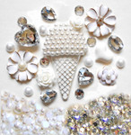 DIY 3D Silver Ice Cream Bling Resin Flat back Kawaii Cabochons Deco Kit Z351 --- lovekitty