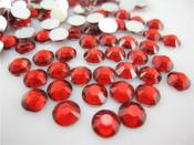 Red  --- 6mm 50pcs --- Rhinestones Round Flat back 14-facet ( High Quality ) --- lovekitty