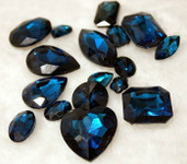 Dark Blue  --- 10 pcs Mixed Shapes lot Cut Back Crystal Glass Gems  ---- lovekittybling