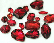 Red --- 10 pcs Mixed Shapes lot Cut Back Crystal Glass Gems  ---- lovekittybling