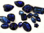 Navy Blue --- 10 pcs Mixed Shapes lot Cut Back Crystal Glass Gems  ---- lovekittybling