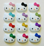 1 piece blinged Bow Hello Kitty face Cute Japanese Kawaii Flat Back Resin Cabochons  -- lovekittybling