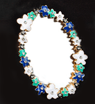 1 pc  Blue Flowers Mirror bling bling deco piece -- by lovekittybling