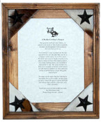Rodeo Cowboy Prayer Framed in 8 x 10 Rustic Pine Frame.