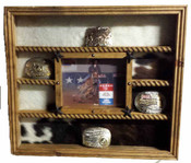 Cowhide backed Buckle Display Great for Rodeo Awards and Barrel Racing Awards