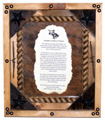 Rodeo Cowboy Prayer in Rustic Pine Frame.