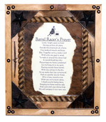Framed Barrel Racers Prayer with Cowhide Back