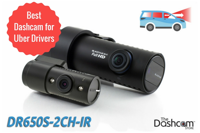 image: The best dashcam for Uber and Lyft rideshare drivers is the BlackVue DR650S-2CH-IR front and interior dashcam | The Dashcam Store Blog